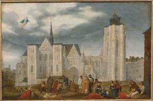 Gezicht op een Romaans-Gotische kerk; op de voorgrond een bisschop en twee priesters en enkele werken van barmhartigheid: het verzorgen van de zieken en het voeden van de hongerigen