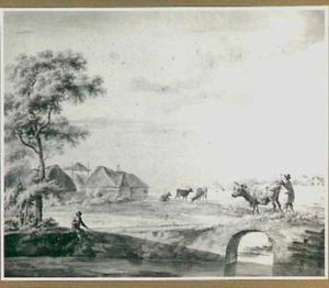 Landschap met boerderij en boer met koe op bruggetje