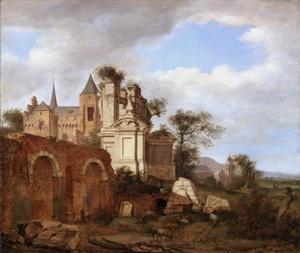 Italianiserend landschap met ruïnes en een Romaanse kerk
