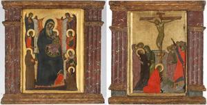 Tweeluik met Maria en kind, heiligen en engelen (linkerluik); de kruisiging (rechterluik)
