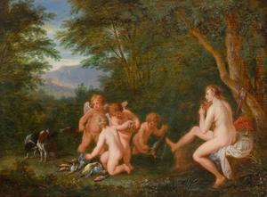 Diana met putti en jachtbuit in een boslandschap