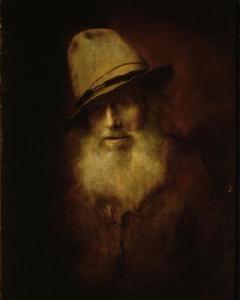 Portret van een oude man met baard en hoed