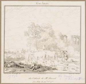 Landschap met runderen, herders en een ruïne