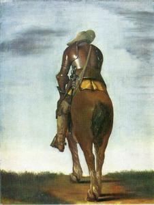 Soldaat te paard, op de rug gezien
