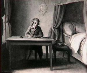 Briefschrijvende jongeman