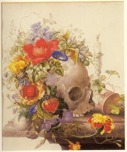 Vanitas-stilleven met schedel op een marmeren blad