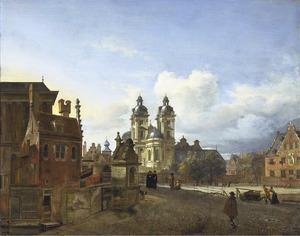 Stadsgezicht met de St. Andreaskerk in Düsseldorf