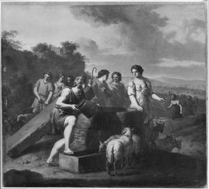 Jacob verwijdert de putdeksel van de bron, zodat  Rachels schapen kunnen drinken (Genesis 29:9-10)