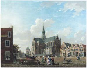 Gezicht op de markt met de St. Bavo te Haarlem