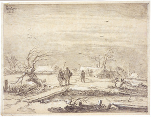 Winterlandschap met figuren en een houten bruggetje