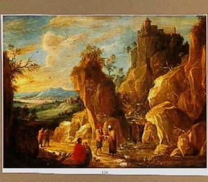 Wandelaars in een berglandschap