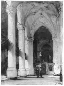 Interieur van de Grote of St. Jacobskerk in Den Haag