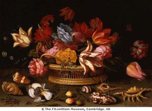 Bloemen in een mand, met schelpen, insekten, aardbeien en een lis