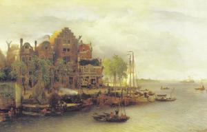 Fantasievoorstelling van een Hollsndse stad aan de rivier