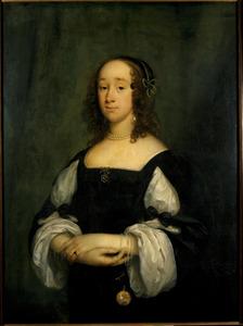 Portret van een vrouw; op het horloge een voorstelling van 'Judith met het hoofd van Holofernes' [Judith 8-16]