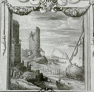 Kustlandschap met boten en ruïnes van een toren
