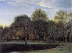 Landschap met herten op een veld