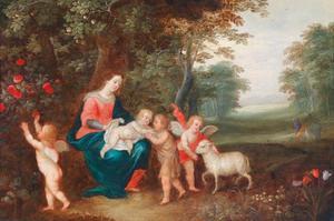 Maria en kind met Johannes de Doper, twee putti en een lam