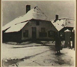 Bij de waterpomp, dorp in winter, mogelijk Ede