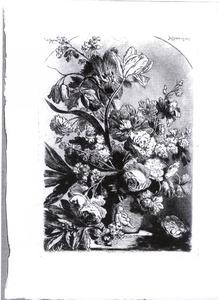 Bloemstilleven in een vaas en een vogelnest op een stenen plint in een nis