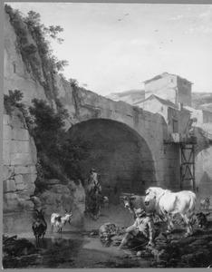 Zuidelijk landschap met rustende herder en dieren bij een hoge brug