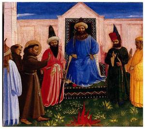 De vuurproef van de H. Franciscus om de Sultan van Egypte te bekeren (Legenda maior, IX, 8)