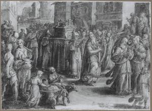 David dansend en musicerend voor de Ark des Verbonds