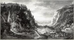 Berglandschap met jagers bij een rivier