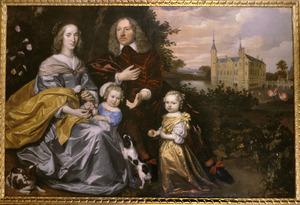 Portret van Michiel Pauw (1617-1658), Anna Maria Fassin (1628-1665) en twee kinderen met op de achtergrond Slot Heemstede te Heemstede