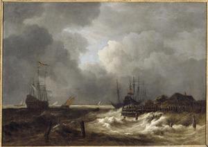Schepen in stormachtig weer voor de kust