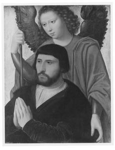 Portret van een stichter met een engel (H. Michael?)