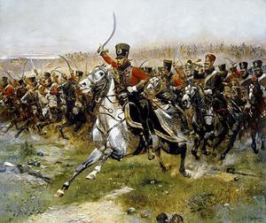 """""""Vive L'Empereur"""", charge van het 4de regiment Huzaren in de slag bij Friedland op 14 juni 1807"""