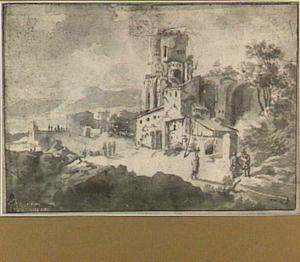 Fantasie-archictuur in de trant van de Maxentius Basilica