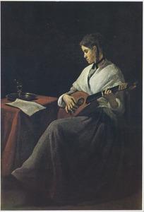 Luitspelende vrouw