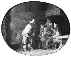 Rokende en kaartspelende soldaten in een stal