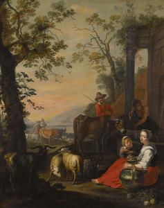 Landschap met rustende herdersfamilie bij een klassieke ruine
