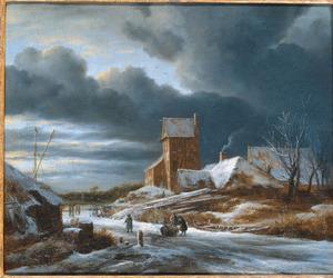 Winterlandschap met bevroren vaart