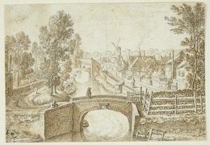 Gezicht vanaf de Utrechtse stadswal op de Westerstroom en de Bemuurde Weerd