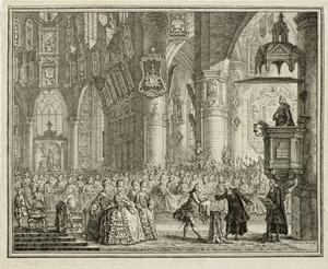 De doop van de latere koning Willem I (1772-1843) in de Grote Kerk te Den Haag, 17 september 1772