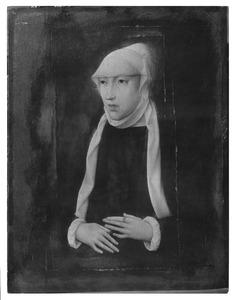 Portret van Maria van Hongarije in weduwendracht