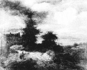 Landschap met huis en figuren op de voorgrond