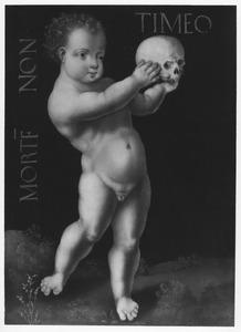 Naakte jongen met schedel