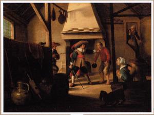 Soldaten bedreigen boeren in een interieur
