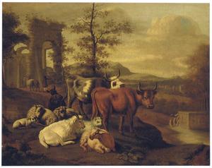 Zuidelijk landschap met rustend vee bij een ruïne