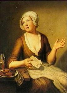 Een dienstmeid gezeten aan tafel
