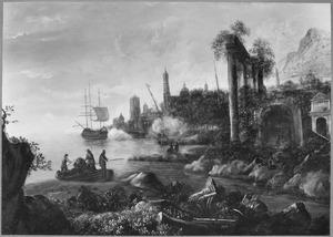 Zuidelijk landschap met antieke ruïne en havenplaats