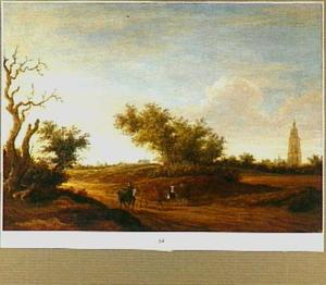 Landschap met een herder en zijn kudde onderweg