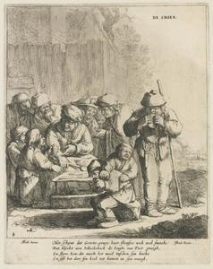 Pannenkoekenbakster omringd door kinderen en volwassenen; allegorie op de Smaak