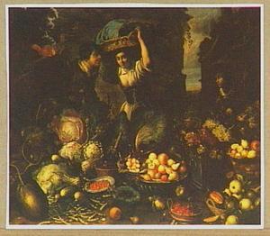 Stilleven van vruchten en groenten met drie personen