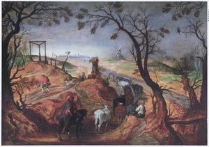 Landschap met boeren en vee op een landweg